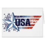 Vintage USA Flag with Star– Memorial Day Greeting Cards