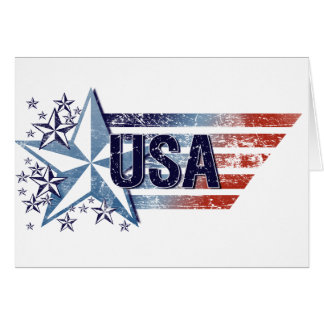 Vintage USA Flag with Star– Memorial Day Card