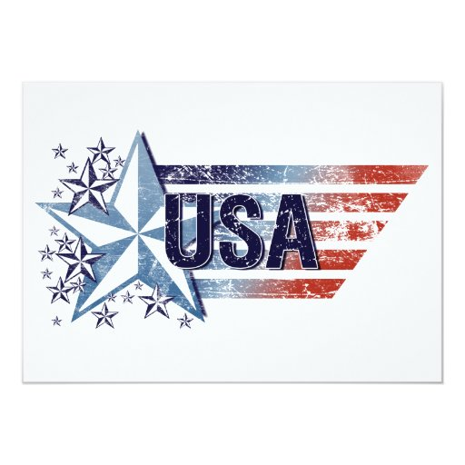 """Vintage USA Flag with Star– Memorial Day 5"""" X 7"""" Invitation Card"""