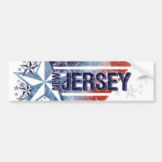Vintage USA Flag with Star – New Jerseyy Car Bumper Sticker