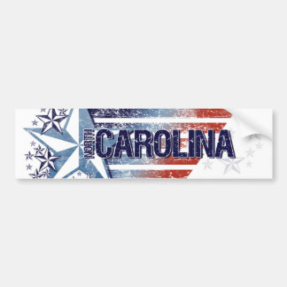 Vintage USA Flag with Star – North Carolina Bumper Sticker