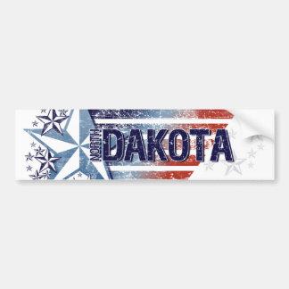 Vintage USA Flag with Star – North Dakota Bumper Sticker