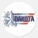 Vintage USA Flag with Star – North Dakota Round Stickers