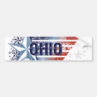 Vintage USA Flag with Star – Ohio Bumper Sticker