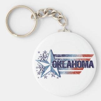Vintage USA Flag with Star – Oklahoma Keychain