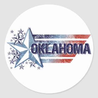 Vintage USA Flag with Star – Oklahoma Stickers