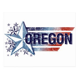 Vintage USA Flag with Star – Oregon Postcard