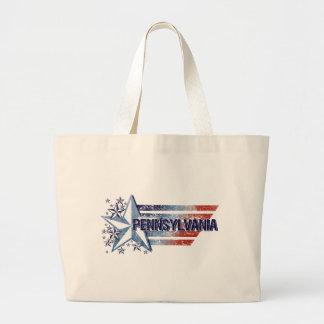 Vintage USA Flag with Star – Pennsylvania Large Tote Bag