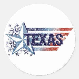 Vintage USA Flag with Star – Texas Round Sticker