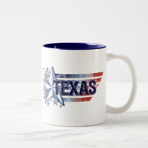 Vintage USA Flag with Star – Texas Two-Tone Coffee Mug