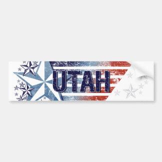Vintage USA Flag with Star – Utah Bumper Sticker