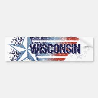 Vintage USA Flag with Star – Wisconsin Car Bumper Sticker
