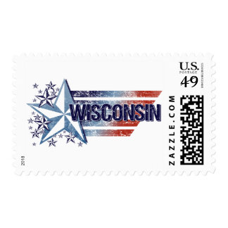 Vintage USA Flag with Star – Wisconsin Postage Stamp