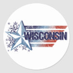 Vintage USA Flag with Star – Wisconsin Classic Round Sticker