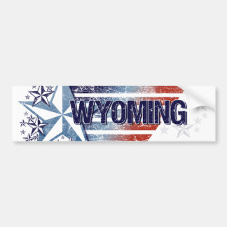 Vintage USA Flag with Star – Wyoming Bumper Sticker
