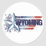 Vintage USA Flag with Star – Wyoming Round Stickers
