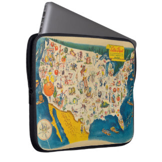 Vintage USA Food Map Computer Sleeve