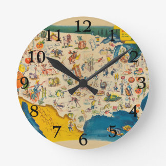 Vintage USA Food Map Round Clock