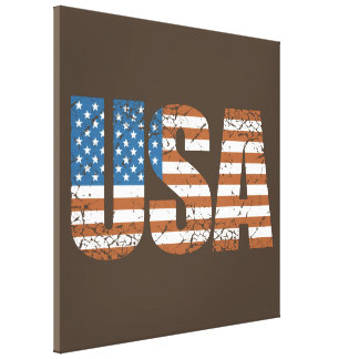 Vintage USA Letters with The American Flag Canvas Print