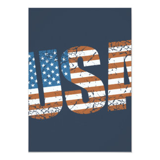 Vintage USA Letters with The American Flag Card