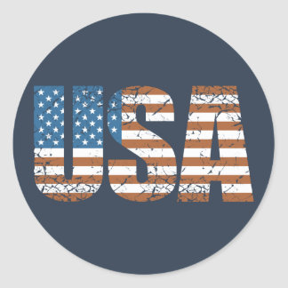 Vintage USA Letters with The American Flag Classic Round Sticker