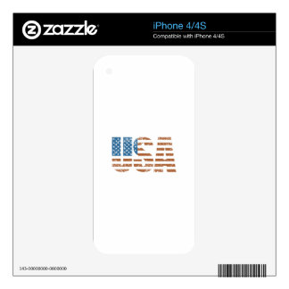 Vintage USA Letters with The American Flag Decal For iPhone 4