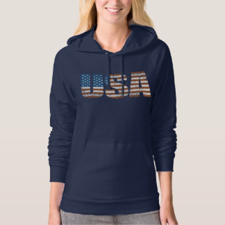 Vintage USA Letters with The American Flag Hoodie