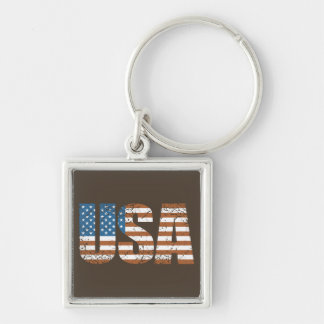 Vintage USA Letters with The American Flag Keychain