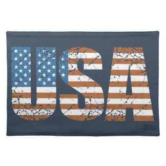 Vintage USA Letters with The American Flag Placemat