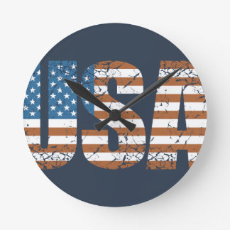 Vintage USA Letters with The American Flag Round Clock