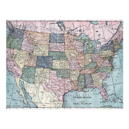 Vintage USA Map Post Cards