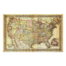 Vintage USA Map Poster