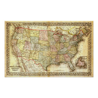 Vintage Usa Map Poster at Zazzle