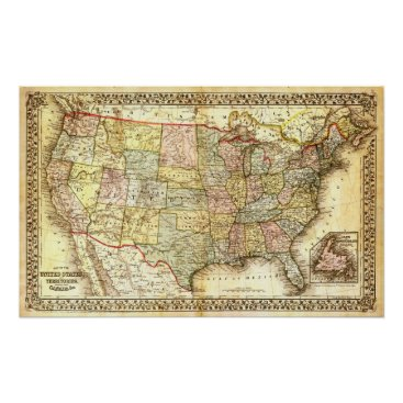 USA Themed Vintage USA Map Poster