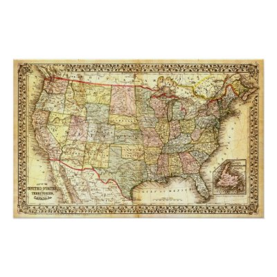 United States Map Outline Poster Zazzlecom - Usa map vintage