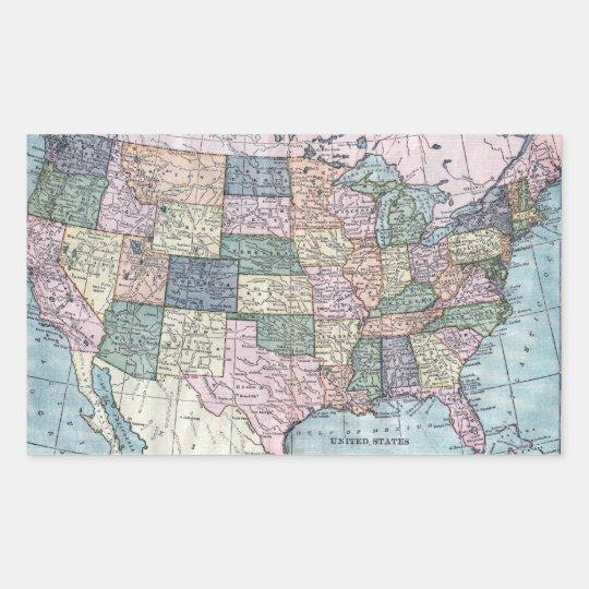 Vintage USA Map Rectangular Sticker