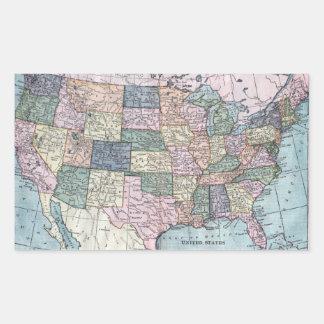 Vintage USA Map Sticker