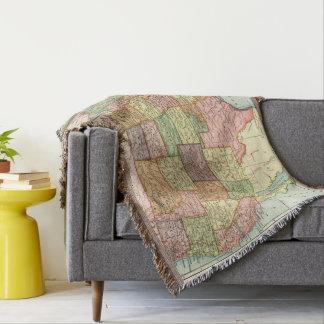 Vintage USA map Throw Blanket