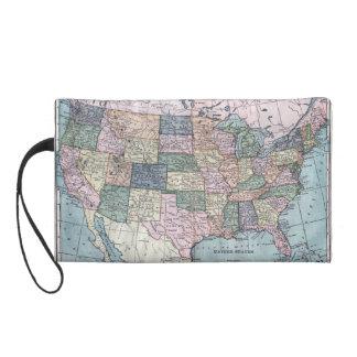 Vintage USA Map Wristlet