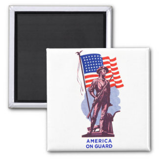 Vintage USA Minutemen America on Guard Patriotism 2 Inch Square Magnet