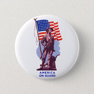 Vintage USA Minutemen America on Guard Patriotism Pinback Button