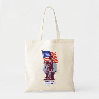 Vintage USA Minutemen America on Guard Patriotism Tote Bag