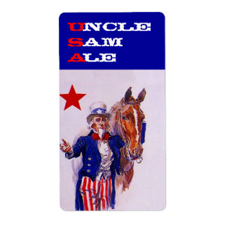 Vintage USA Uncle Sam Ale  Labels Cavalry Horse Shipping Label