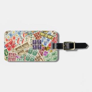 Vintage Used Stamps Luggage Tag