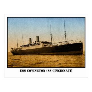 Vintage USS Covington o SS Cincinnati coloreada Postal