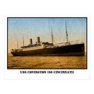 Vintage USS Covington or SS Cincinnati colored Postcard