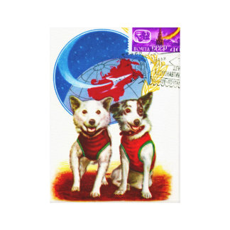 VINTAGE USSR DOG ASTRONAUTS GALLERY WRAPPED CANVAS