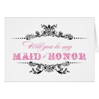 Vintage usted será mi criada de la tarjeta del hon