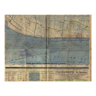 Vintage Utah Beach D-Day Invasion Map (1944) Poster