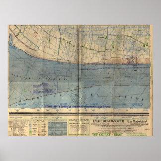 Vintage Utah Beach D-Day Invasion Map (1944) Poster
